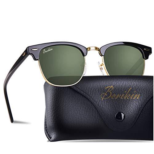 Berikin Vintage Square Style Sunglasses For Men Women Black Frame Green Glass Lenses 100% UV400 ()