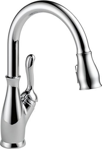 Delta Faucet Leland Single-Handle Kitchen Sink Faucet with Pull Down Sprayer, ShieldSpray Technology and Magnetic Docking Spray Head, Chrome 9178-DST ()