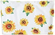 Strapless Camisole Tops for Women Teen Girls Sunflower Graphic Printed Sleeveless Short Crop Tops Tank Shirts