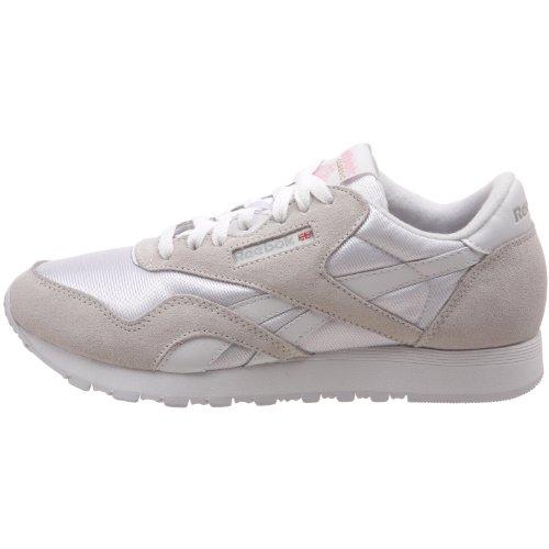 Reebok Women's Classic Nylon Leather, White/Light Grey, 8.5 M US