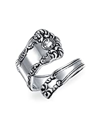 Boho Bypass Spoon Band Ring For Women For Men Oxidized 925 Sterling Silver Adjustable
