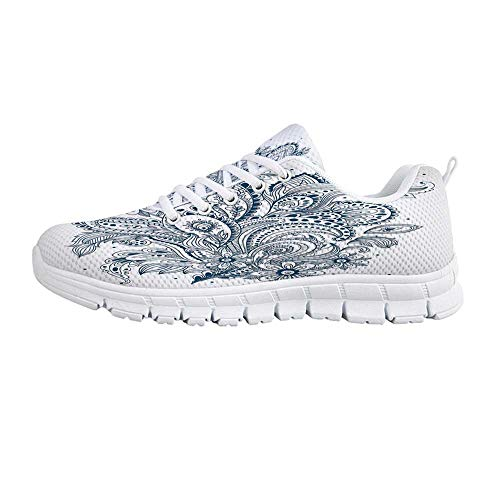YOLIYANA Henna Jogging Running Shoes,Doodle Style Floral Arrangement with Ornament Design Abstract Leaves Print Decorative Sneakers for Girls Womens,US Size 6