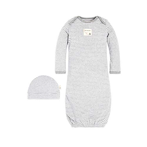 Burt's Bees Baby Unisex Baby Gown and Cap Set, 100% Organic Cotton, 0-6 Months, Heather Grey Stripe, 1-Pack
