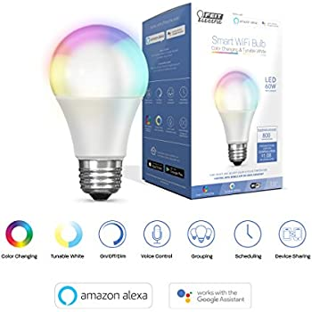 feit electric smart wifi led color changing and dimmable a19 light bulb no hub required works. Black Bedroom Furniture Sets. Home Design Ideas