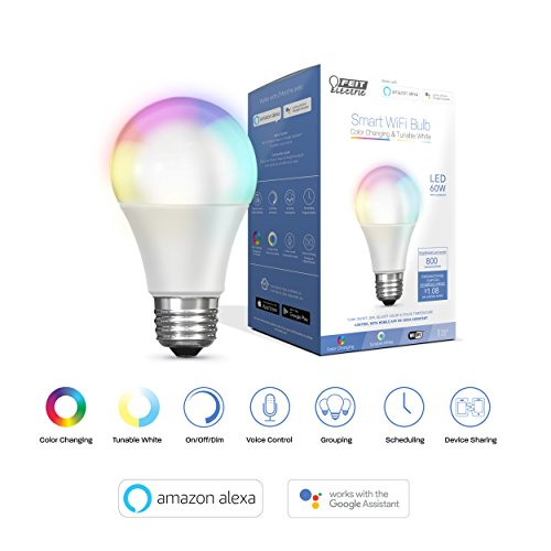 FEIT Electric Smart WiFi LED Color Changing and Dimmable A19 Light Bulb,  No Hub Required, Works with Alexa and Google Assistant   (A800/RGBW/AG) ()