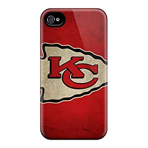 Shock Absorbent Hard Phone Cover For Iphone 4/4s With Provide Private Custom Vivid Kansas City Chiefs Pictures JasonPelletier