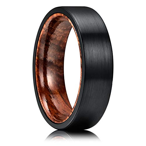 (THREE KEYS JEWELRY 6mm Mens Rosewood Inner Tungsten Wedding Ring Black Brushed Flat Hunting Ring Annatto Wedding Band Engagement Ring Size 7.5)