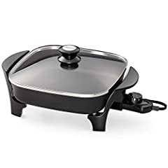 11-in Electric Skillet with glass lid. Roasts, fries, grills, stews, bakes, makes casseroles and more. 120 volts, 60 Hz only