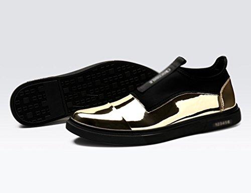 Respirable Ocio Cuero Estilo Oro de Tamaño de Hombre Color la 5 los Zapatos de UK5 para EU38 Hombres Oro Clásicos Británico Piel Moda de a Zapatos P0xaRUx