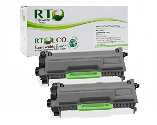 6200 Compatible Toner - Renewable Toner TN880 Compatible Cartridge Replacement 12k High Yield for Brother TN-880 HL-6200, HL-6300, HL-6400 Series (Black, 2-Pack)