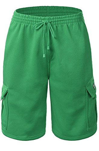 URBAN ICON Men's Fleece Cargo Shorts Dream USA, Large, Kelly Green