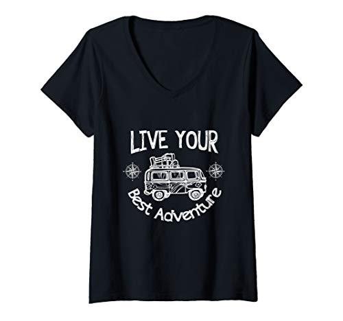 Womens Van Life Camping Live Your Best Adventure V-Neck T-Shirt