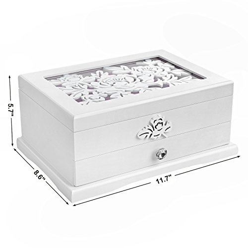 SONGMICS Girls Jewelry Box Wooden Flower Carving Organizer Storage Case 2 Tier with Drawer DIY,, White and Pink UJOW201 by SONGMICS (Image #6)