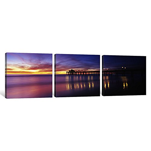 iCanvasART 3 Piece Reflection of a pier in water, Manhattan Beach Pier, Manhattan Beach, San Francisco, California, USA Canvas Print by Panoramic Images, 48 x 16