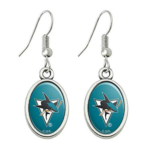 GRAPHICS & MORE NHL San Jose Sharks Logo Novelty Dangling Drop Oval Charm Earrings