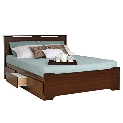 (Prepac Coal Harbor Queen Platform Storage Bed with Headboard in Espresso)