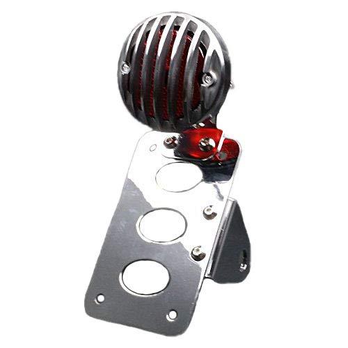 Moto Grill Vintage Retro Montage de l'essieu laté ral Plaque d'immatriculation Stop Lampe de feu arriè re (Chrome) BHYShop