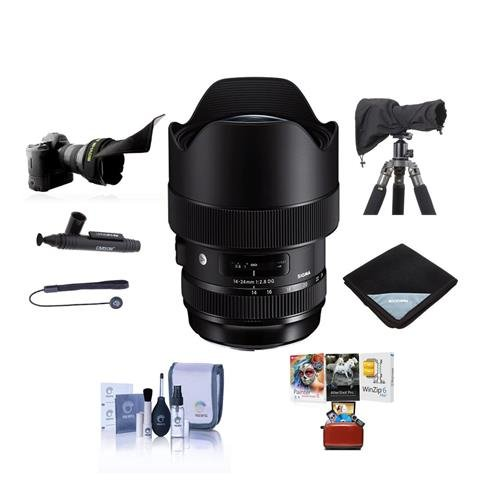 Sleeve Kit Lens - Sigma 14-24mm f/2.8 DG HSM Art Wide-Angle Zoom Lens for Nikon DSLR Cameras - Bundle with Lens Wrap, LensCoat Raincoat Rain Sleeve Black, Cleaning Kit, Flex Lens Shade, Mac Software Package, and More
