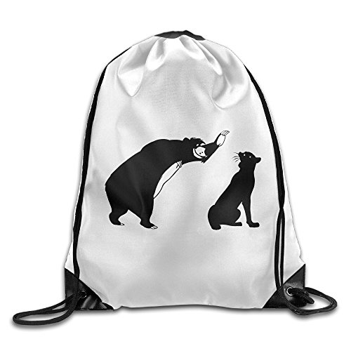 [Chocy Bear Baloo And The Black Panther Bagheera The Jungle Book Bear Walk White Drawstring Backpack] (The Jungle Book Baloo Costume)