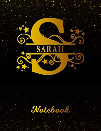 Sarah Notebook: Letter S Personalized First Name Personal Writing Notepad Journal | Black Gold Glittery Pattern Effect Cover | College Ruled Lined ... Taking | Write about your Life & Interests