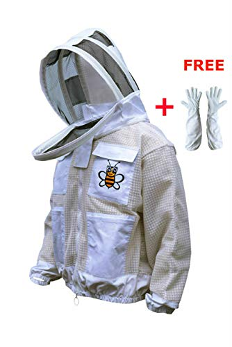 (Bee Suits 3 Layer Safety Unisex White Fabric Mesh Beekeeping Jacket Beekeeping Veil Bee Protective Clothing Beekeeping Protective Ventilated Bee Round Veil (3XL) )