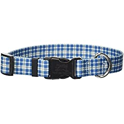 """Yellow Dog Design Preppy Boy Plaid Dog Collar, Small-3/4 Wide fits Neck Sizes 10 to 14"""""""