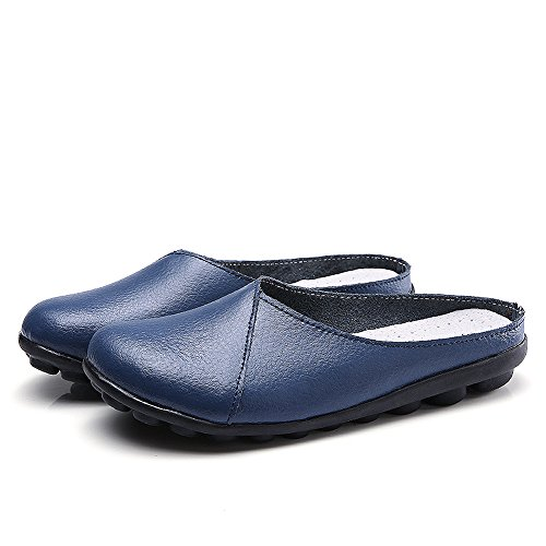 Soft Womens Clogs - Labato Women's Mules Slip-on Shoes Leather Clogs Flats Wallking Slipper