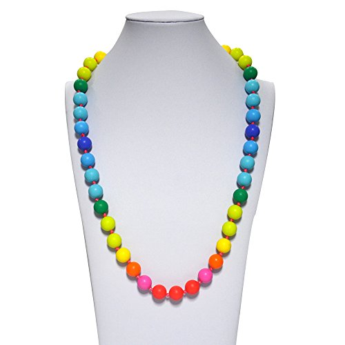 (V-TOP Chewable Rainbow Silicone Baby Teething Necklace for Mom and Baby Teether Toy -BPA Free (Rainbow Classic))