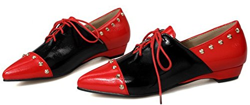 Red Lace up Toe Summerwhisper Rivets Pointed Color Heel Trendy Shoes Block Low Pumps Women's Studded FxBqU