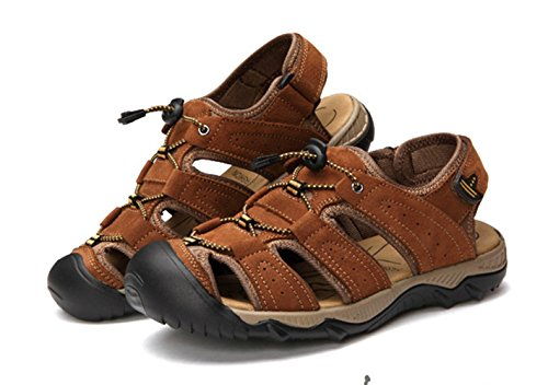 Leather Liveinu Sandal Sandals Beach Close Toe Men's Brown Sport Athletic Shoes xqXFIXa