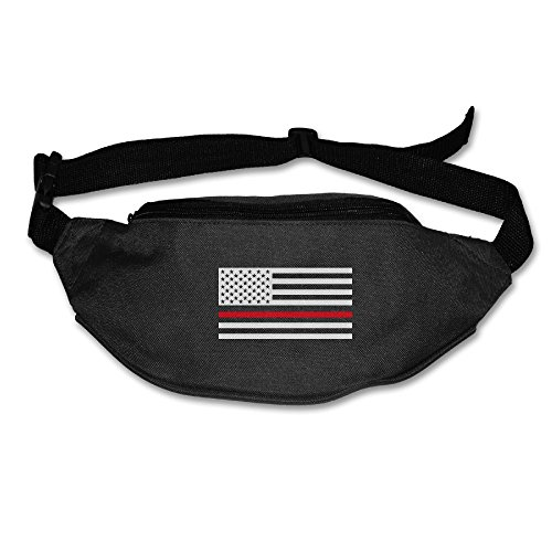 Heard Me Unisex Firefighter Red Line Flag Fanny Pack Waist Bag Phone Holder Adjustable Running Belt For Cycling,Hiking,Gym