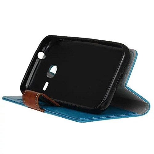 Caja de la carpeta de Samsung Galaxy Mini J1, Caja genuina de calidad Premium Doble Color Design tirón de la carpeta de cuero con 2 ranuras para tarjetas y la función del soporte conveniente para el S