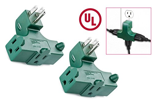 2pc ALazco 3-Way Outlet Wall Tap - Right Angle Shaped Triple Prong Wall Splitter Adapter For Behind Furniture - Plugin Locations On The Right, Left And Bottom - GREEN - 3 Way Wall