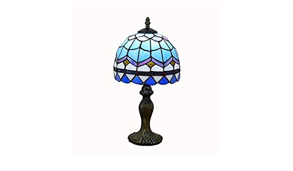 Lámpara de Mesa Simple Cristal Azul Estilo mediterráneo Tiffany ...