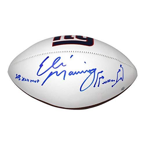 Eli Manning New York Giants Signed White Panel Football Inscribed SB XLII MVP, David Tyree
