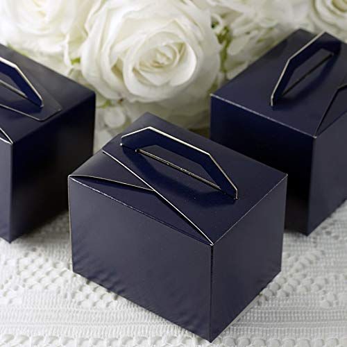 Efavormart 100pcs Navy Blue Tote Favor Boxes Party Goodie Boxes Treat Box for Wedding Reception/Bridal Shower/Banquet Event