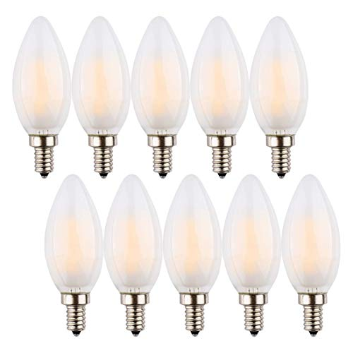 Candelabra Bulb 6W,E12 Base Dimmable LED Candle Bulbs, C35 Frosted Glass Cover,Torpedo Shape Bullet Top,softwhite,2700K LED, 60W Equivalent 550LM, 360 Degrees Beam Angle, Pack of 10