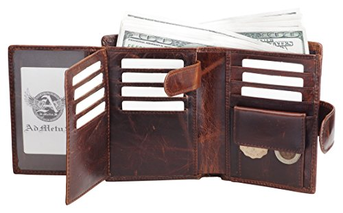 Mens Wallet Soft Genuine Leather Trifold Wallet for Men Card Holder Coin Purse gift Box - Men Picture