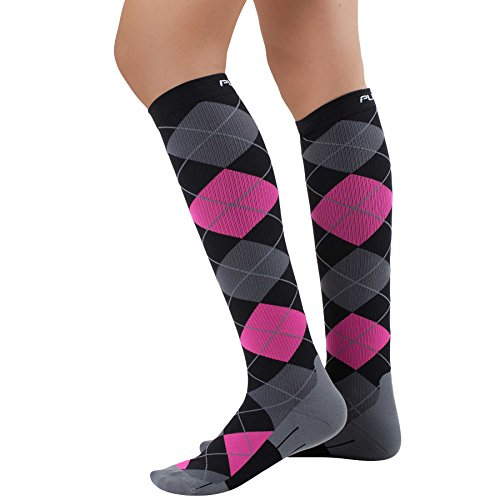 (Pure Athlete Argyle Compression Socks - Graduated Travel Compression Sock for Men and Women - Use for Running, Nurses, Maternity, Flight (Medium, Black/Grey/Neon Pink))