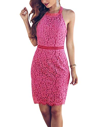 MEROKEETY Women's Halter Neck Backless Floral Lace Sexy Cocktail Party Bodycon Dress ()