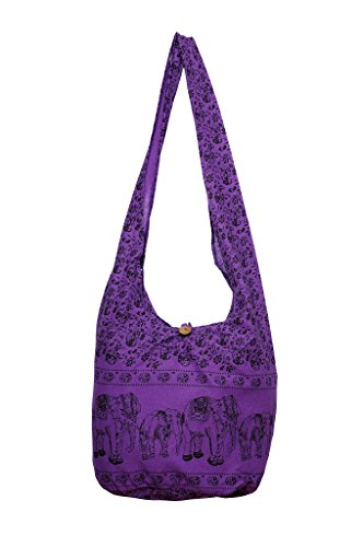 Avarada Thai Cotton Hippie Hobo Sling Crossbody Bag Messenger Purse Bohemian Print Elephant Large Purple