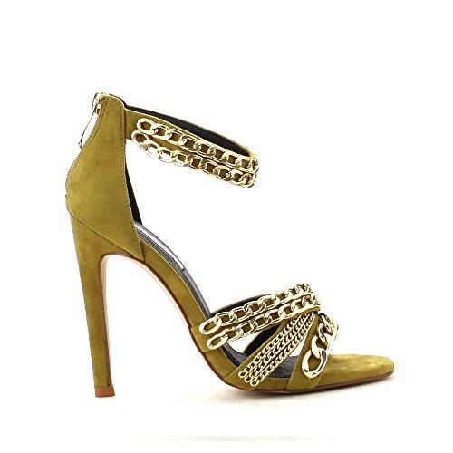 Sandalo Stiletto Da Donna Con Cinturino A Punta Stile Sandalo Con Catena Oro By Cape Robbin Stile Suzzy-83 Oliva
