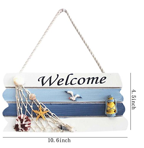 """QHZHANG 10.6' X 4.5"""" Vintage Beach Style Hanging Welcome Sign for Door Hanging (B)"""