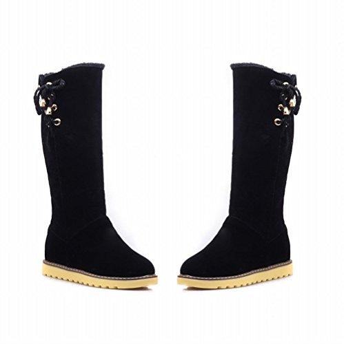 Carolbar Womens Dual-purpose Fashion Warm Lace up Winter Comfort Hidden Heel Snow Boots Black TGIv9TAqAO