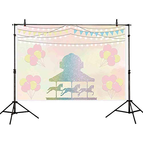 Allenjoy 7x5ft Balloon Circus Carousel Birthday Backdrop for Girl Twinkle Gold Lights for Kids Baby Shower Background Photo Studio Props Banner