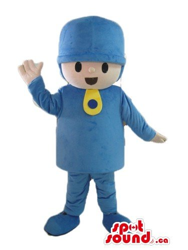 Pocoyo boy in blue hat cartoon character SpotSound Mascot US costume - Pocoyo Costume