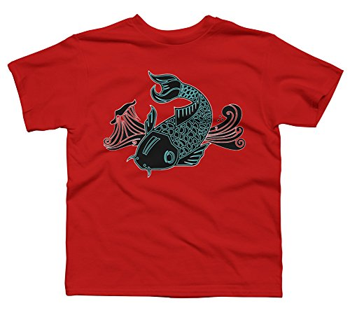 Design By Humans Bioluminescent Koi Fish Boy's Medium Red Youth Graphic T Shirt