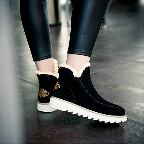 Boots Boots Pelliccia 34 Marrone Invernali Scamosciata Stivali Snow Nero 43 43 43 Caldo Zeppa Bassi Donna Comode con Stivaletti Ankle Nero 3cm Neve NEOKER Scarpe Beige qAxXwZFW