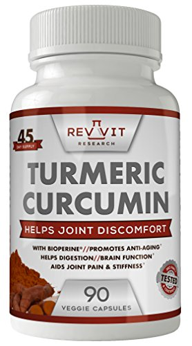 Revvit Research Turmeric Curcumin Joint Pain Relief with Bioperine All Natural Maximum Strength Arthritis Joint Support