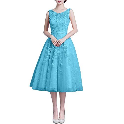 Romantisch Ballkleider Ballkleider Spitze Marie Blau Abschlussballkleider La Abendkleider Rosa Braut Wadenlang xTXEqw8F